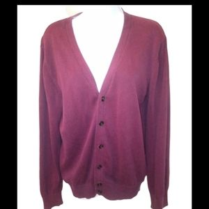 Forever 21 mens burgundy button up cardigan